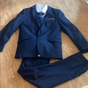 Black n Bianco Navy 5 Piece Suit w/ Red Accent , 8